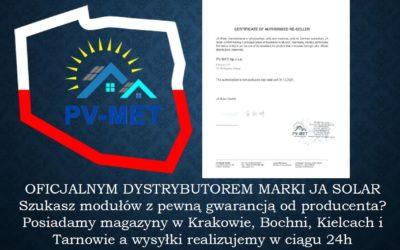 PV-MET oficjalnym dystrybutorem marki JA SOLAR